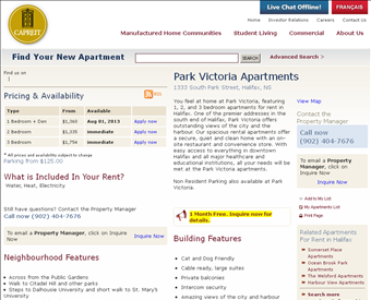 CAPREIT Park Victoria Apartments Web Screenshot